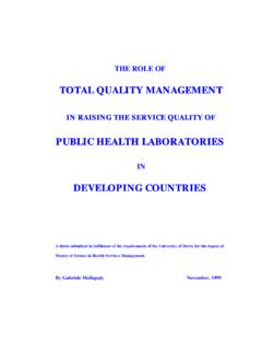 THE ROLE OF TOTAL QUALITY MANAGEMENT