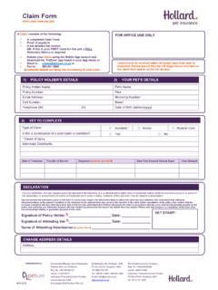 Claim Form - Hollard Pet Insurance
