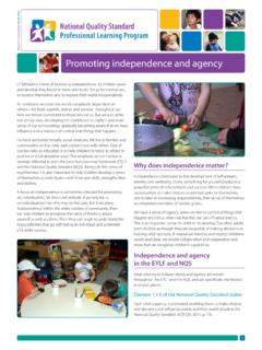Promoting independence and agency - Early …