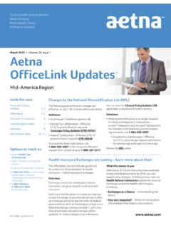 Volume 10, Issue 1 Aetna OfficeLink Updates