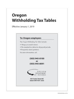 Oregon Withholding Tax Tables