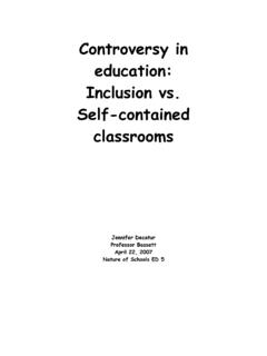 Controversy in education: Inclusion vs. Self-contained ...