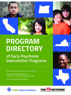 Program Directory of Early Psychosis Intervention Programs
