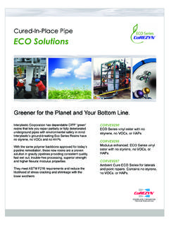 Cured-In-Place Pipe ECO Solutions - Interplastic