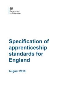 Specification of apprenticeship standards for England