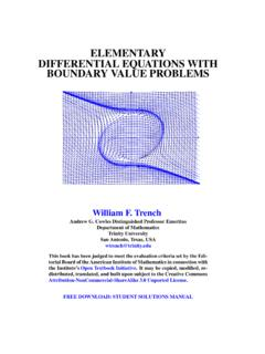 ELEMENTARY DIFFERENTIAL EQUATIONS WITH …