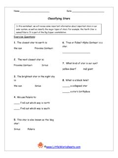 Classifying Stars - Little Worksheets