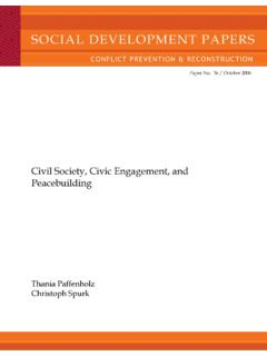 Civil Society, Civic Engagement, and Peacebuilding