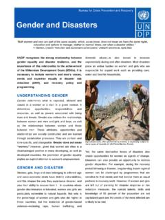 Gender and Disasters - UNDP