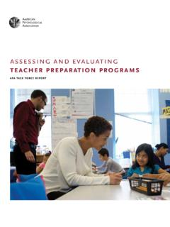 assessing and evaluating teacher preparation …