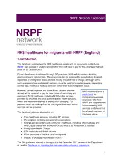 NHS healthcare for migrants with NRPF (England)
