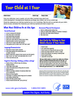 Your Child at 1 Year - Centers for Disease Control …