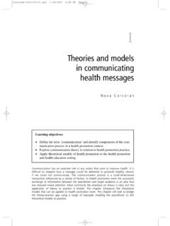 Theories and models in communicating health messages