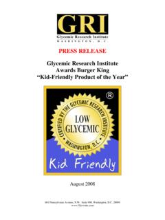 PRESS RELEASE Glycemic Research Institute Awards Burger ...
