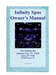 Spa Owner's Manual - Infinity Spas - Hot Tubs and