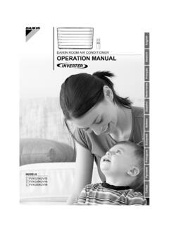 DAIKIN ROOM AIR CONDITIONER OPERATION MANUAL