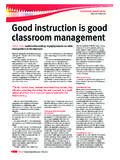 Effective instruction Good instruction is good classroom ...