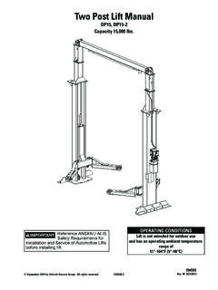 Two Post Lift Manual