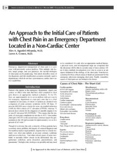 An Approach to the Initial Care of Patients with Chest ...