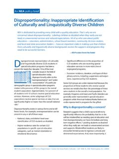 Disproportionality: Inappropriate Identification of ...