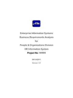 Enterprise Information Systems Business Requirements ...