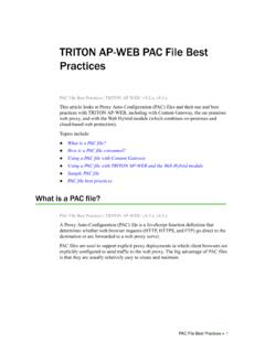 PAC File Best Practices for TRITON AP-WEB