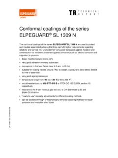 Conformal coatings of the series ELPEGUARD SL 1309 N