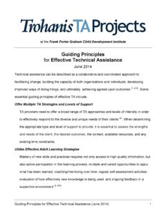 Guiding Principles for Effective Technical Assistance