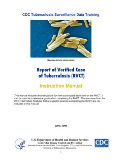 Report of Verified Case of Tuberculosis (RVCT) Instruction ...