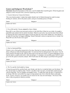 Genre and Subgenre Worksheet 7 - Ereading Worksheets