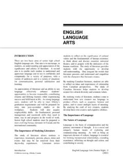 ENGLISH LANGUAGE ARTS - Alberta Education
