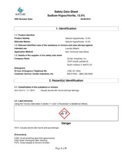 Safety Data Sheet Sodium Hypochlorite, 12.5%
