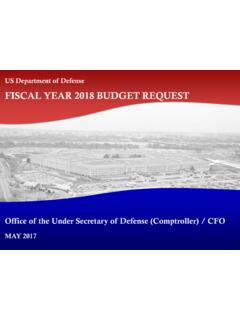 FISCAL YEAR 2018 BUDGET REQUEST - Under Secretary of Defense
