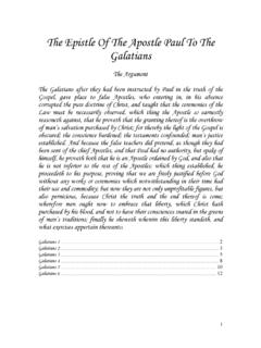 The Epistle Of The Apostle Paul To The Galatians