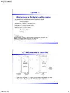 Lecture 12 Mechanisms of Oxidation and Corrosion