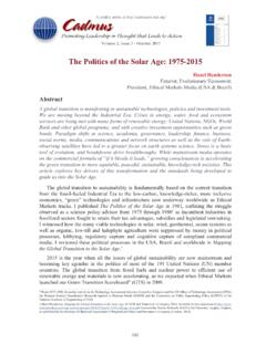 The Politics of the Solar Age: 1975-2015 - Cadmus Journal