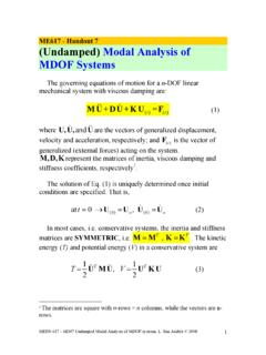 ME617 - Handout 7 (Undamped) Modal Analysis of MDOF Systems