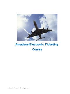 Amadeus Electronic Ticketing Course