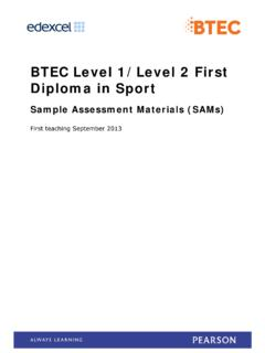 BTEC Level 1/Level 2 First Diploma in Sport