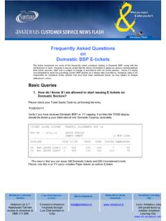 Frequently Asked Questions on Domestic BSP E-tickets