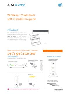 AT&T U-verse Wireless TV Receiver self-installation guide