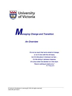 Managing Change and Transition - University of Victoria