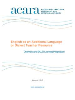 English as an Additional Language or Dialect …