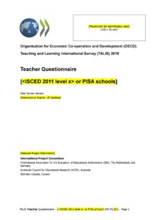 Teacher Questionnaire [<ISCED 2011 level x> or PISA schools]