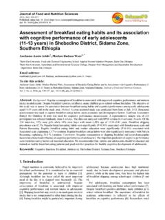 Assessment of breakfast eating habits and its …
