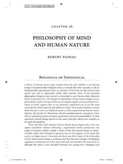 PHILOSOPHY OF MIND AND HUMAN NATURE