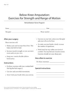 Below-Knee Amputation: Exercises for Strength …