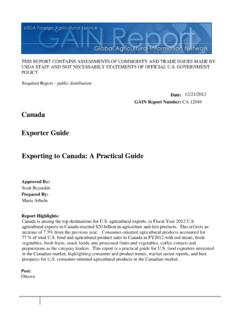 Canada Exporter Guide Exporting to Canada: A Practical Guide