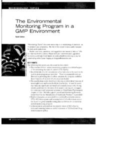 The Environmental Monitoring Program In a GMP …