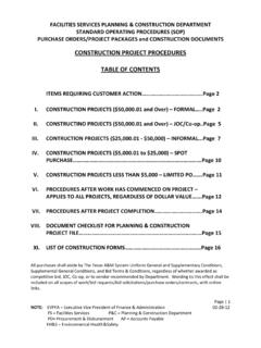 CONSTRUCTION PROJECT PROCEDURES TABLE OF …
